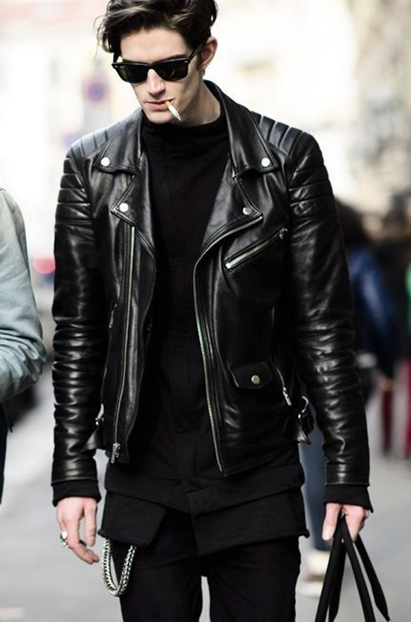 20 Cool Men Street Styles With Leather Jacket