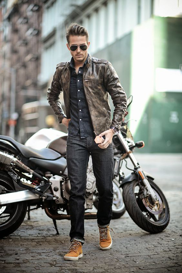 20 cool men street styles with leather jacket fashionlookstyle com