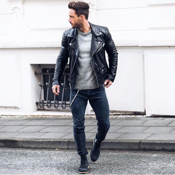20 Cool Men Street Styles With Leather Jacket ...