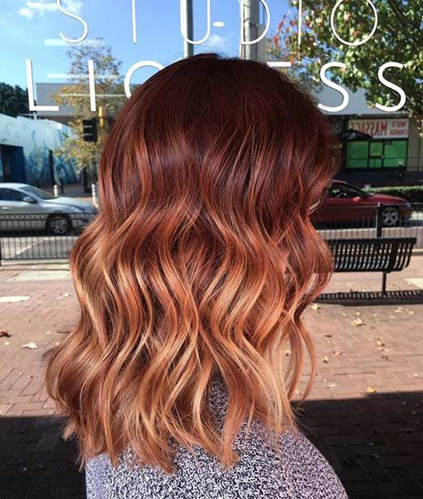 Copper Red Balayage Long Bob Fashionlookstylecom