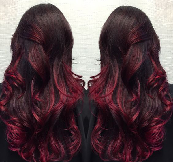 Dark Violet Red And Magenta Balayage Ombre Hair