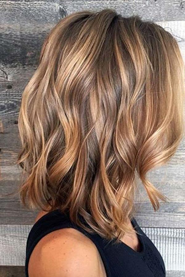Short Brown Balayage Hair Color With Caramel Highlights