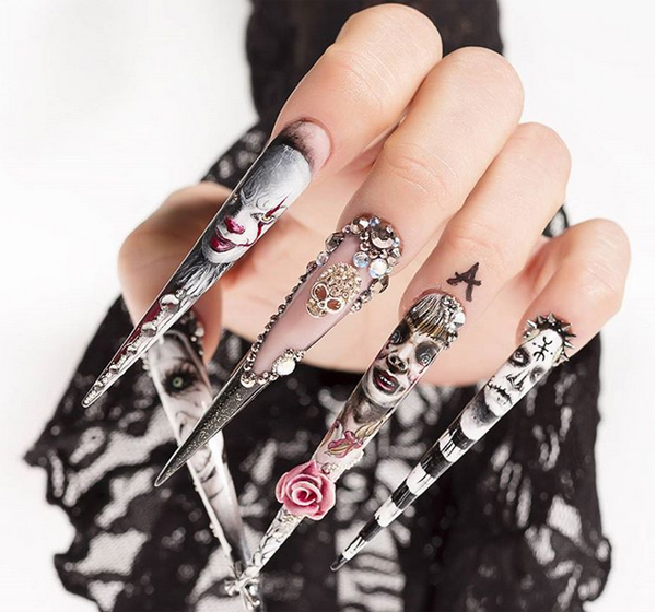 15 Spooky Halloween Nail Art with It Movie Themes