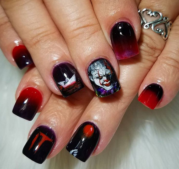 15 Spooky Halloween Nail Art with It Movie Themes ...