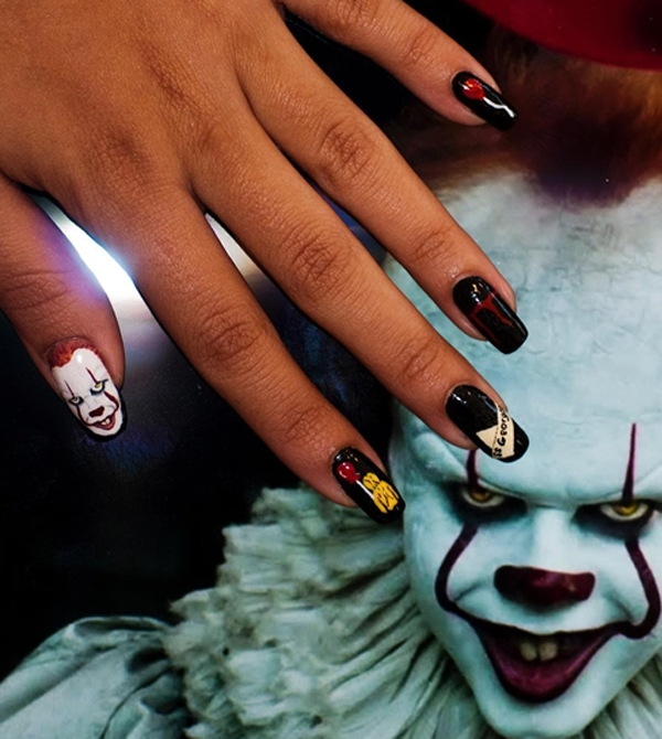 pennywise-clown-nail-art-theme