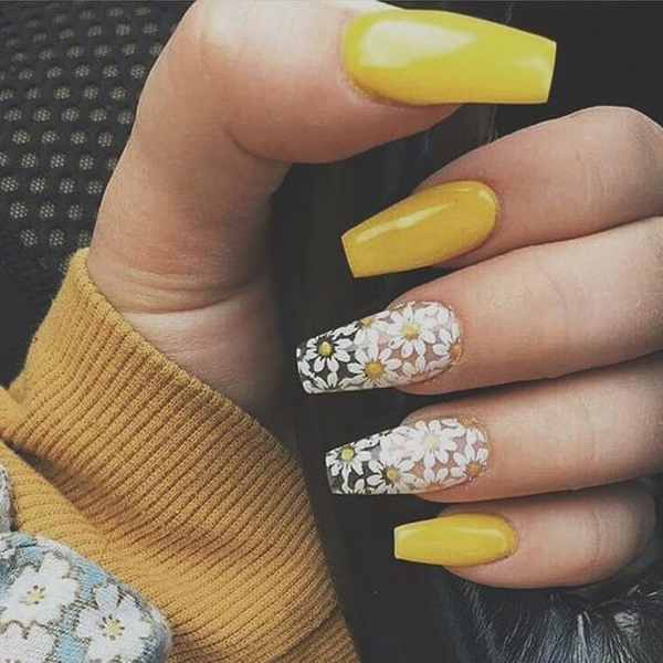 cute,yellow,acrylic,nail,designs,for,summer