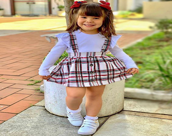 look Beautiful with a Simple Dress without Cute Sleeves for Kids
